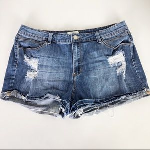 Forever 21+ distressed denim cut off shorts A1118